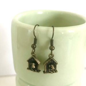 Vintage antiqued bronze doghouse puppy earrings